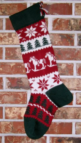 Rocking Horse with Patterned Foot Knit Christmas Stocking