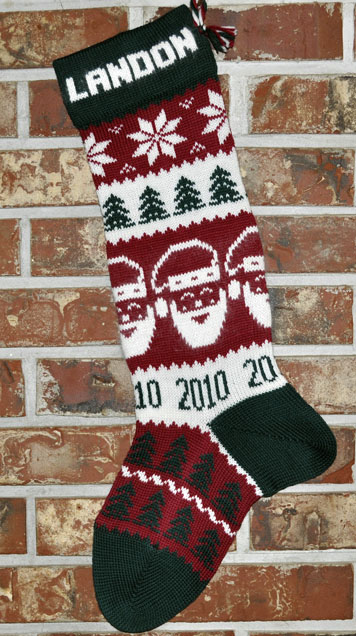 Santa Stocking knit with Year 2017
